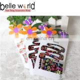 Wholesale Flower Print Hair Snap Clips and Bobby Pins Matel Hair Clips for Kids