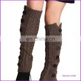 fashion acrylic loom knitting leg warmers with buttons