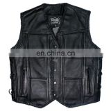 HMB-5090A BLACK LEATHER JACKET COAT BRAIDS STYLE VEST COATS ON SALE