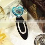 Murano bookmark heart blue speckle