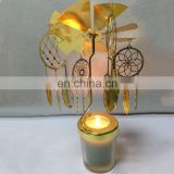 2018 New Design Etched Metal Decoration Gold Revolving Brass Candle Holder