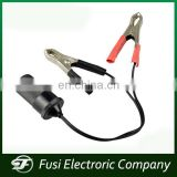 China Supplier 12V car cigarette lighter plug with alligator clips cable for car battery charger