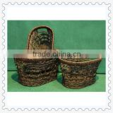 oval-shape seagrass weaving covered baskets for storage