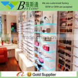 professional optical shop interior wall mount glass shelf design