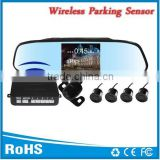 4 waterproof sensors wireless parking detector with 4.3inch lcd rearview mirror and two way video input