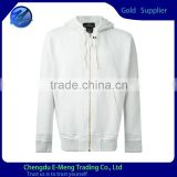 Custom mens white zipper hoodies with pocket