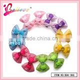 Fashion hair clip accessories wholesale cheap hair jewelry,fabric ribbon bows with plastic