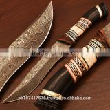 Hunting Knife with White bone and Buffalo horn handle and brass file work