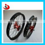One Set Of KTM 50 Assembly Wheel With Red Color Hubs And Black Rims