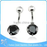 Black Big Cubic Zircon Belly Button Ring Crystal Navel Jewelry