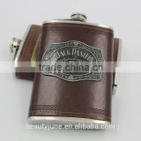 luxury leather best hip flask hipflask with custom with a cup cover stainless steel shot glass gifts wedding