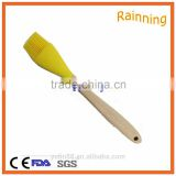 Wholesale yellow pastry silicone oil brush with wooden handle