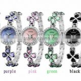 2012 new women's stainless steel stone lucky clover crystal watch, long lasting battery