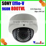 "Supper WDR 800TVL 1/3""Sony CCD Effio-V Vandalproof 30pcs IR LED Security Dome Camera"