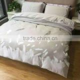 2016 new design light grey floral feather printing embroidery combination duvet cover sets