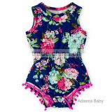 (CR719#Navy)High quality newborn-24M cotton toddler gift bodysuit flowers printed for baby romper