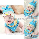 100% cotton baby beanie hat panda duck chick pig animal baby hat with turtleneck bib
