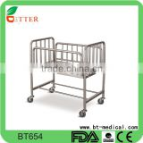 Stainless steel hospital baby cot baby crib bed