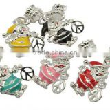 Alloy European Style Dangle Beads, father christmas, Santa Claus, Silver Color, Multicolor, about 15x34x3mm, hole: 4.5mm(ENAM-G0