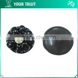 8MM Clear Rhinestone Black Resin Rhodium Cup Shank Shirt Cover Button