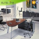 High Quality Fashion Classic Modern Glass Aluminum Frame Wood Desk Executive Table