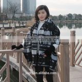 new design factory direct Hot selling Embroidered fur wholesale cashmere shawl with fox fur trim
