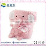 Soft pink elephant animal shaped baby fleece blanket