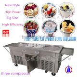 2D10A Three Compressors Big size double-cylinder Thai Fried ice cream Roll Machine with 10 Refrigerated tanks