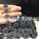 sew on 25MM Resin rose Flower With black Rhinestone Chain For Garment handbag decoration