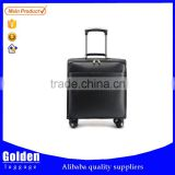 China wholesale men's business airport trolley luggage 17inch PU leather luggage travel bags