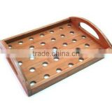 Antique Bamboo Serving Tray with Holes Handles for Kitchenware Tableware Catering Home Hotel Restaurant and Bar