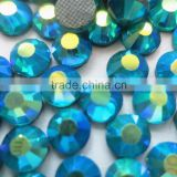 wholesale and retail manufacture ss30 strong glue blue zircon AB color iron on glue hotfix stone for dress making