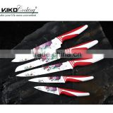 5pcs Beautiful Rose Pattern Printing Blade Non Stick Color Knife Set with Comfortable Handle