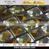 glass mosaic mirror tile, glod stainless steel mix beveled glass mosaic