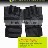 BLACK LONG STRAP LEATHER FITNESS GLOVES, HIGH QUALITY LEATHER FITNESS GLOVES WITH PADDING WITH LONG STRAPS