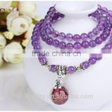 Wholesale Semi Precious Gemstone Amethyst Stone 6mm Round Bead Stretch Aromatherapy Essential Oil Diffuser Charm Bracelet