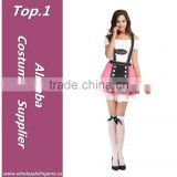 Pink lovely lace hem adult costume for germany beer girl costume