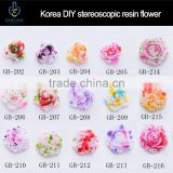 Colorful 3D nail ink resin flower decoration