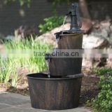 Outdoor Rustic Barrel Garden Water Fountain