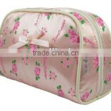 Fashion satin cosmetic pouch bag with a butterfly bow in front