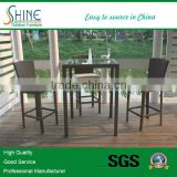 Outdoor Furniture Plastic Rattan Classical Glass Bar Table And Bar Chair For Bistro Furniture, Garden Furniture, Home Furniture