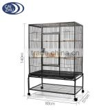 Large Parrot Budgie Canary Bird Cage Aviary With Stand Castor Wheels Storage Shelf Hammer Tone Black