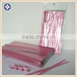 Light pink colored metallic twist tie roll for bamboo decoration candy lollipop food bag packaging