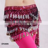 Tribal printed crochet beaded belly dancing hip scarf belly dance hip belt