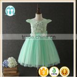 High quality OEM Angel Green Short sleeves Embroidery Flower girls party dresses Lovely Fluffy Tulle Kids frock designs pictures