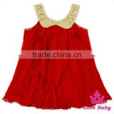 48BQA131 Lovebaby Yiwu Wholesale Baby Clothes Sequin Collar With Red Ruffle Chiffon Girls Frock Designs