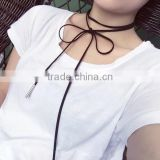 New Hot Fashion Velvet Tie Choker Long Necklace Black Velour Leather Choker Bowknot Tying Boho Choker Collar