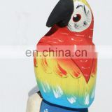 Colored Tropical Parrot Handcrafted of Balsa Wood, Figurine, Wooden Sculptures, Bird Statues Art of Ecuador