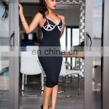 Amigo 2017 latst black Strape backless sexy beaded bandage dress long tube evening dresses for girls party wear