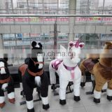 HI CE funny plush skin with steel walking ride on horse for kids,mechanical ride on animal for mall